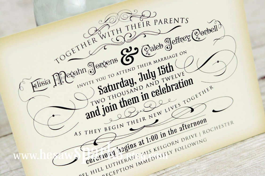 Vintage Wedding Invitation Printable Diy the Timeless