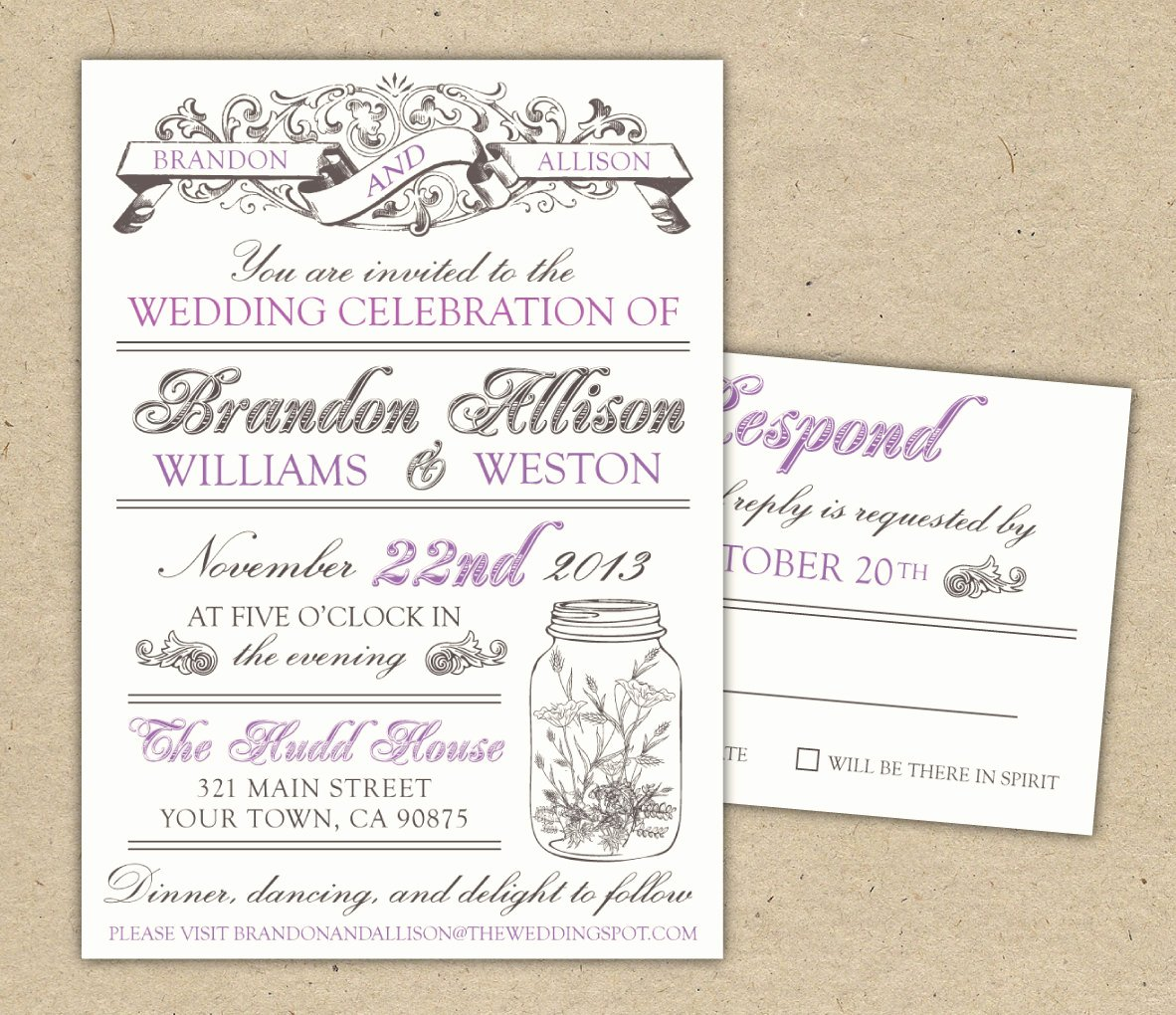 Vintage Wedding Invites Template
