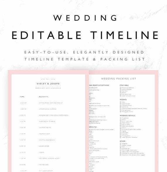 Violet Wedding Timeline Template Minimal Bridal Wedding Day