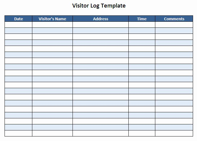 Visitor Log Template Sample format Example Picture to Pin