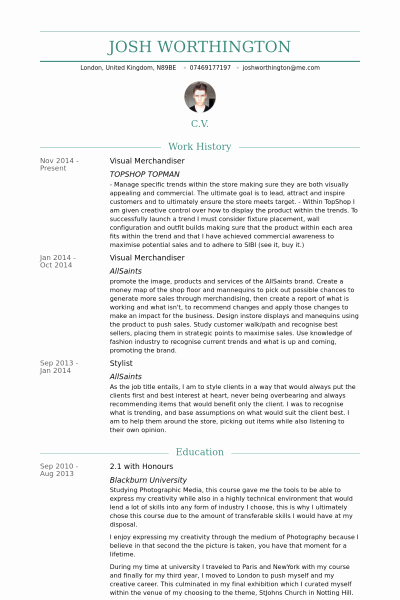 Visual Merchandiser Cv Visual Merchandiser Resume Fresh