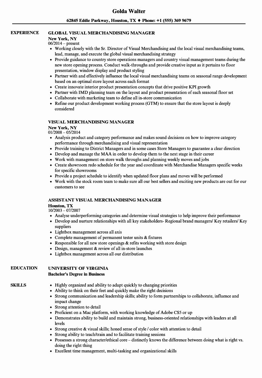 Visual Merchandising Manager Resume Samples