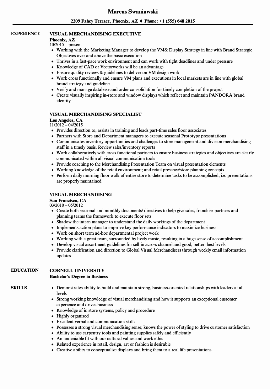Visual Merchandising Resume Samples