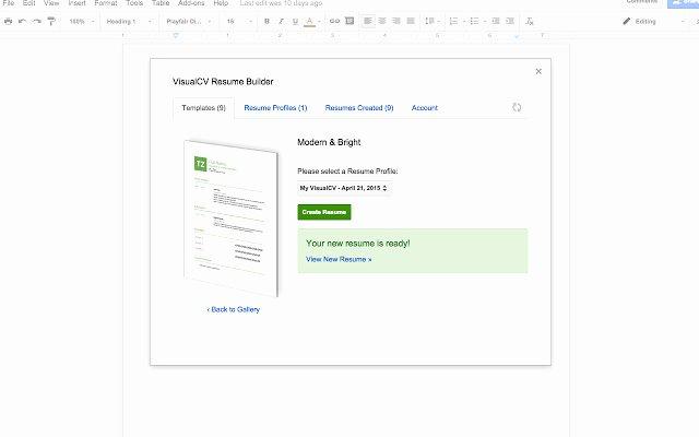 Visualcv Resume Builder Google Docs Add On