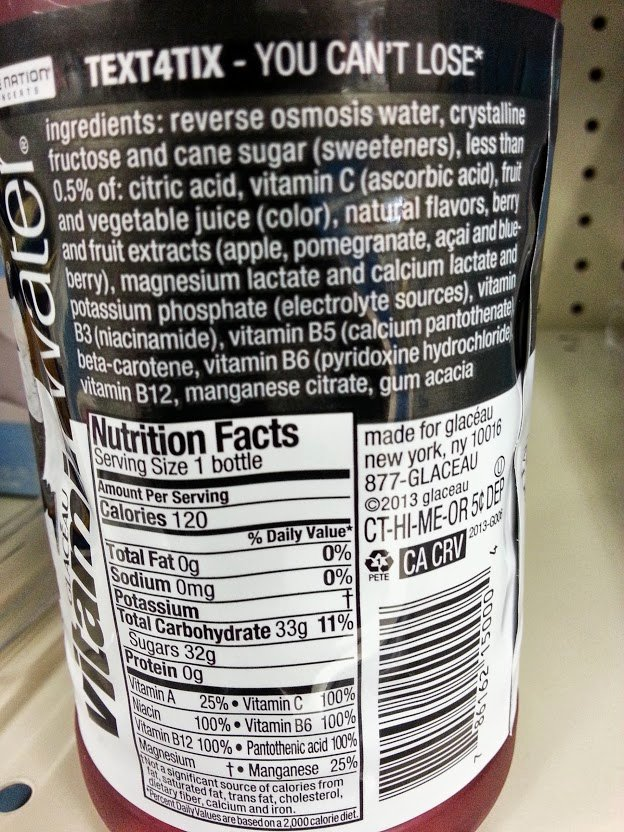 Vitamin Water Nutrition Label Smart Water Nutrition Facts
