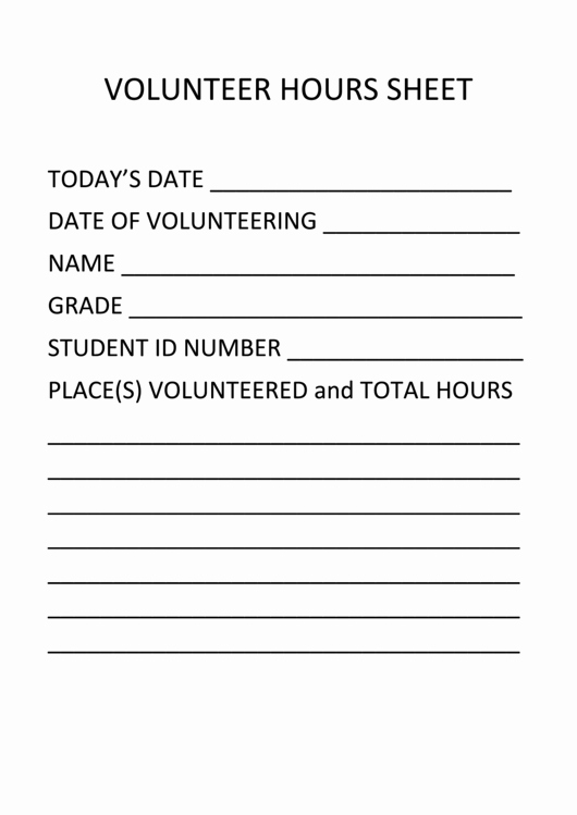 Volunteer Hours form Printable Pdf