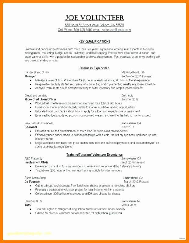 Volunteer Service Resume Amosfivesix