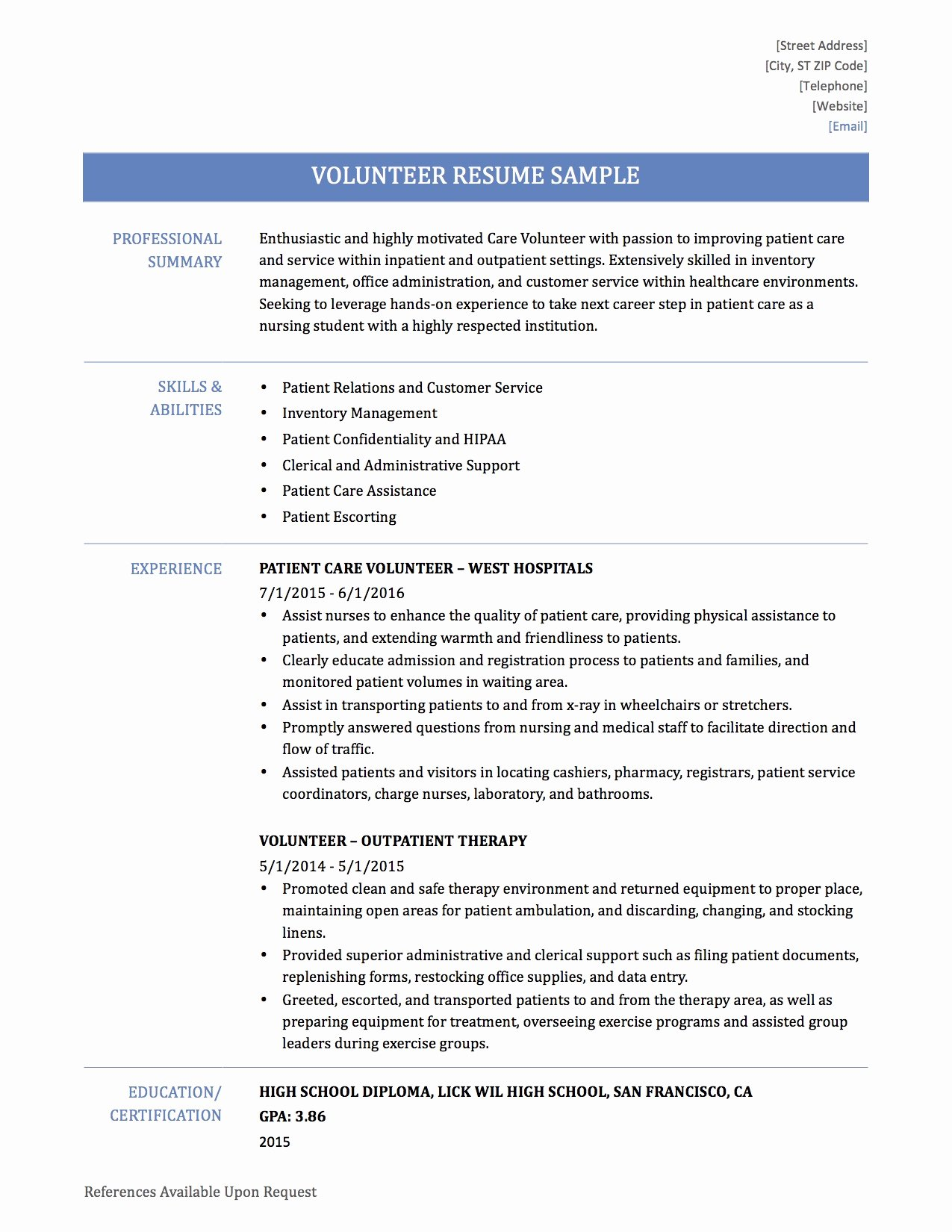Volunteering Resume Resume Ideas