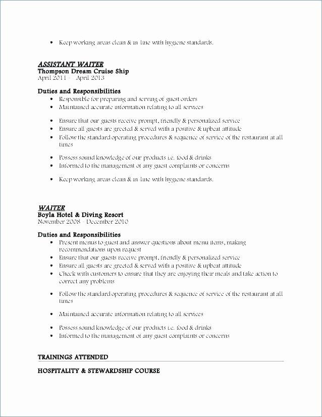 Waiter Job Description for Resume Elegant Example Resume