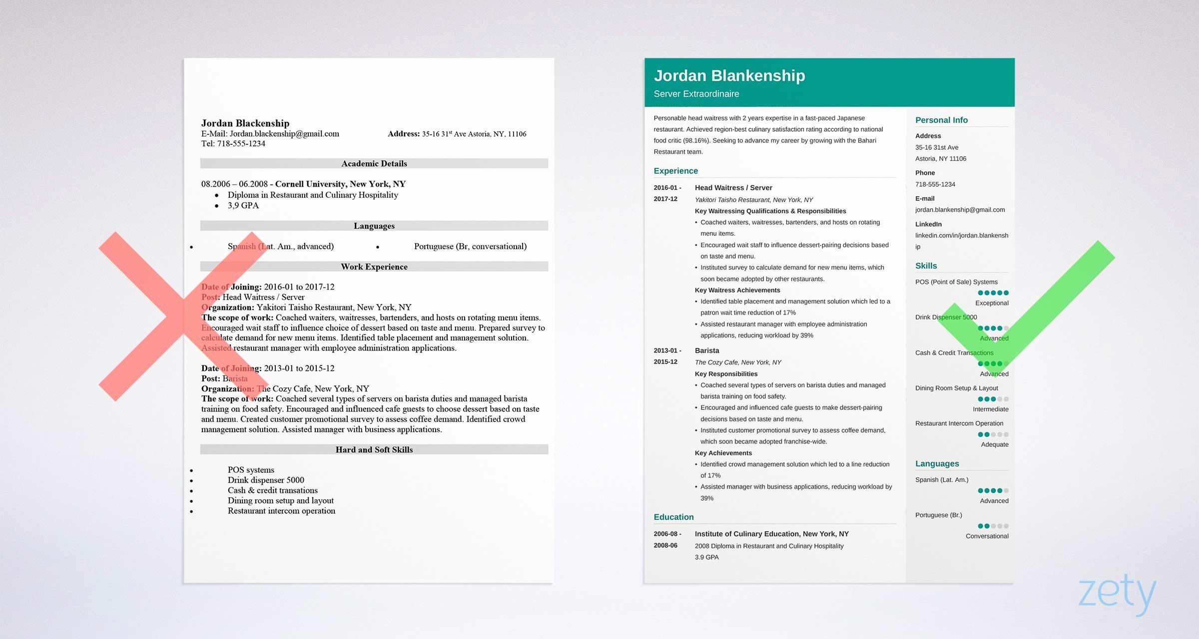 Waiter Waitress Resume Sample & Plete Guide [20