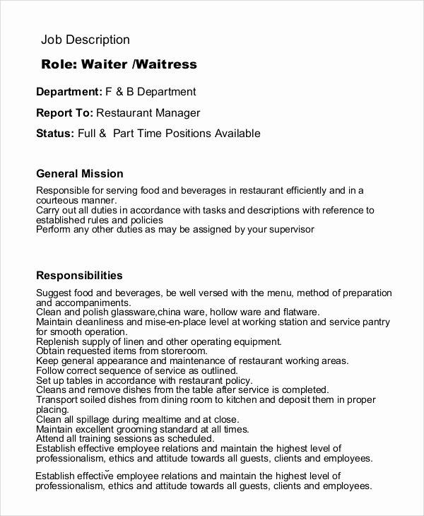 Waitress Job Description for Resume Best Resume Gallery