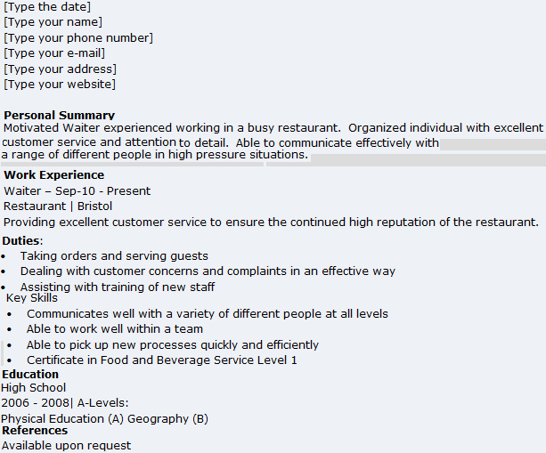 Waitress Job Description Resume