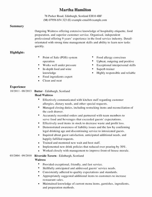 Waitress Resume Duties Best Resume Gallery
