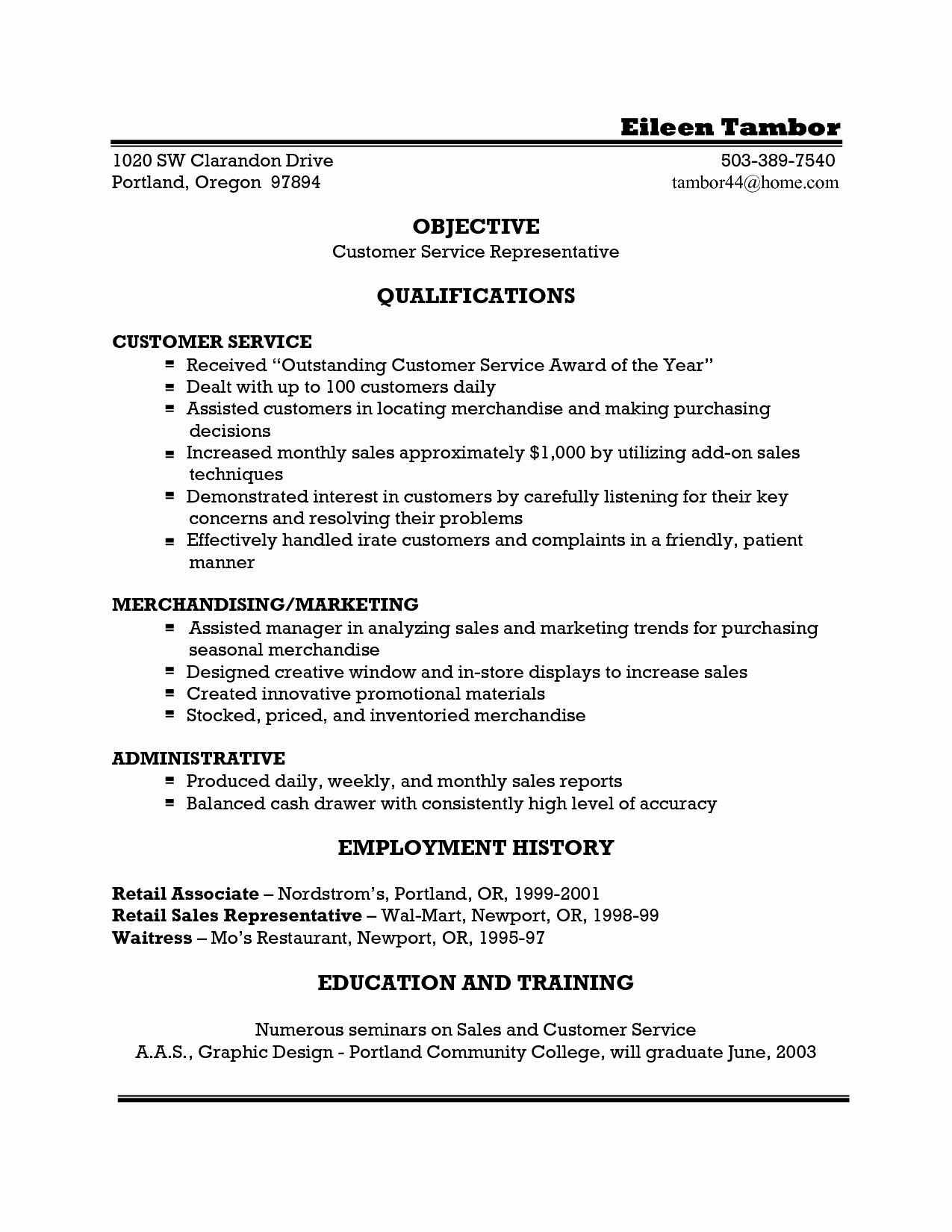 Waitress Resume Example Template for Doc Server Samples