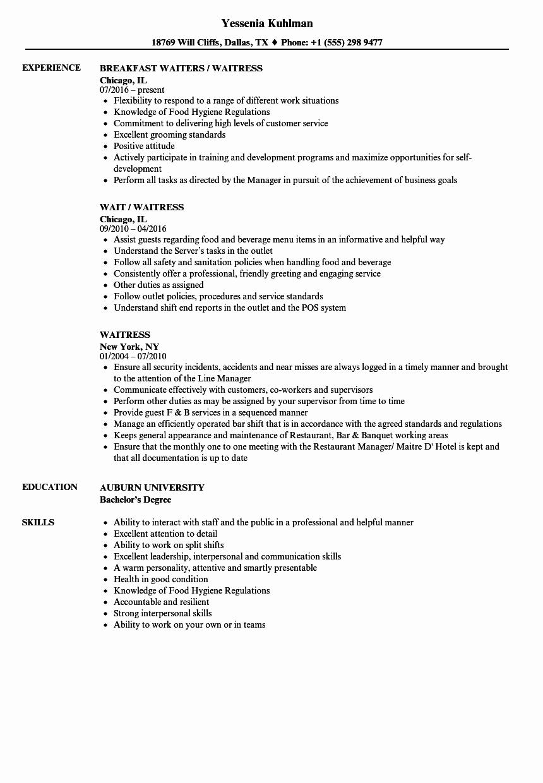 Waitress Resume Samples