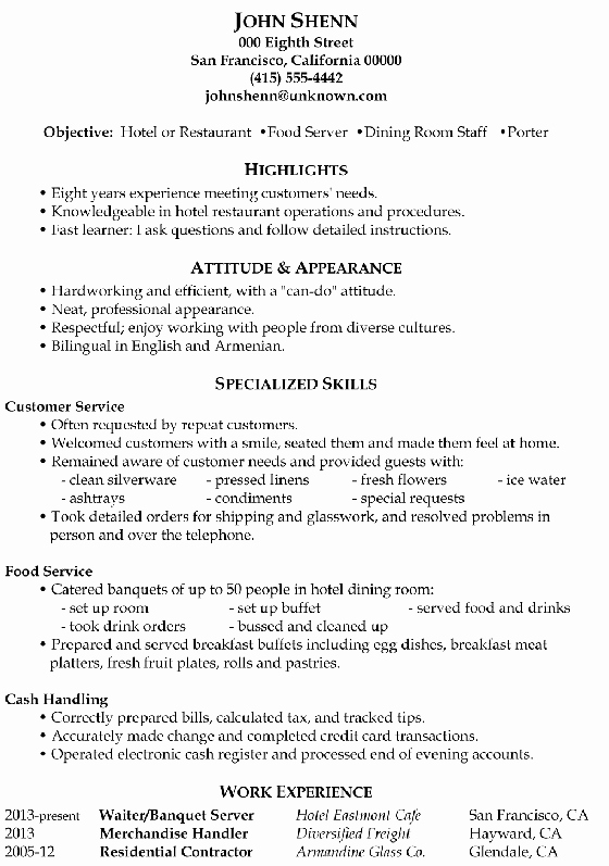 Waitress Resume Skills Latter Example Template