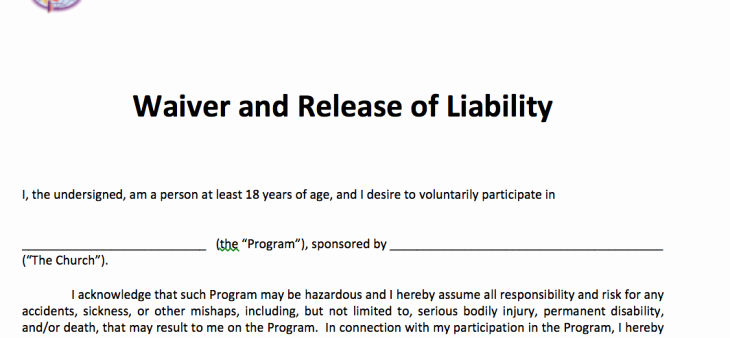 Waiver and Release Of Liability – Adult Free Methodist