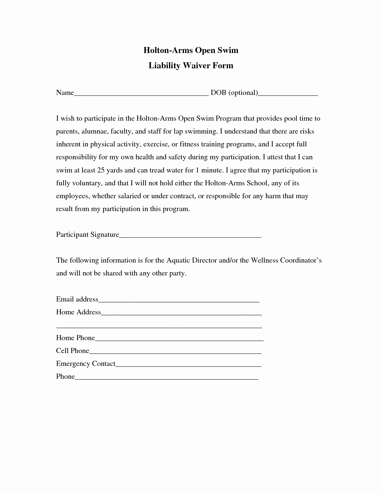 Waiver Liability form Template Portablegasgrillweber
