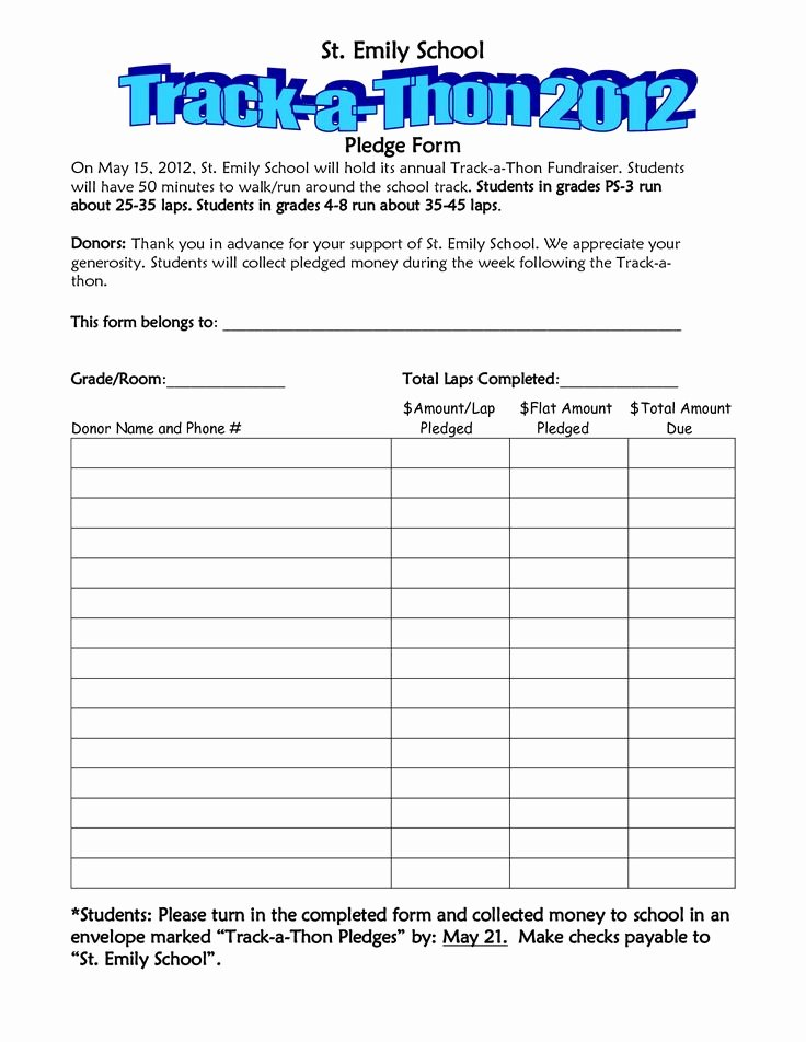 Walkathon Pledge form Template Invitation Templates