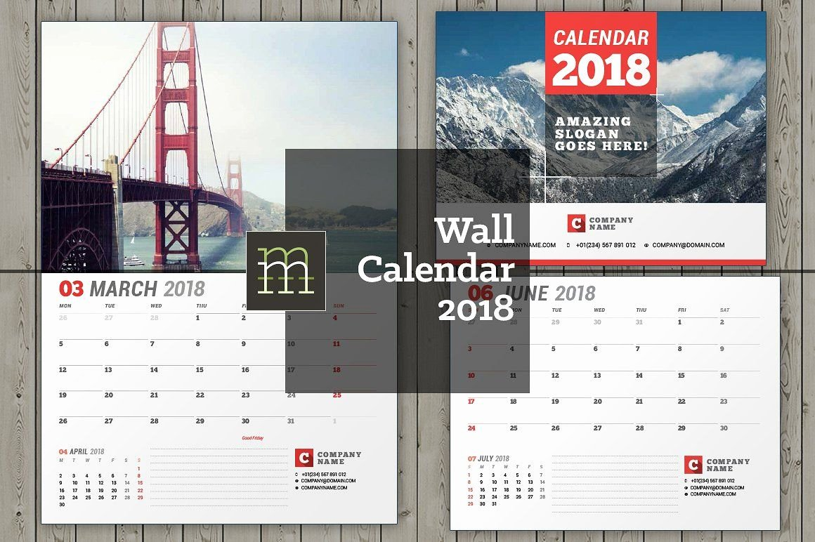 Wall Calendar for 2018 Year Fully Editable Layered Indesign Template
