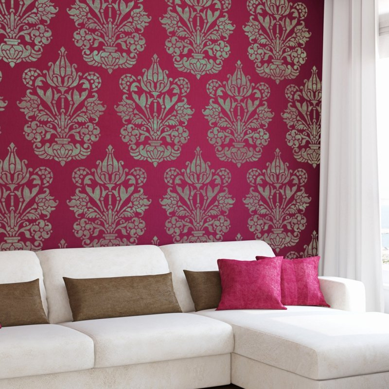 Wall Stencil Damask Allover Stencil Heather for Easy