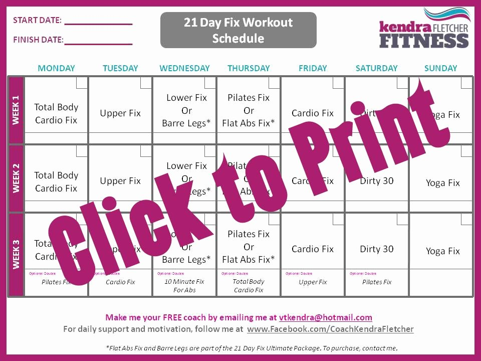 Want to Do the 21 Day Fix Here S A 21 Day Fix Schedule