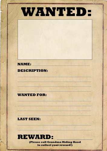 Wanted Poster Template by Joeroberts89 Teaching