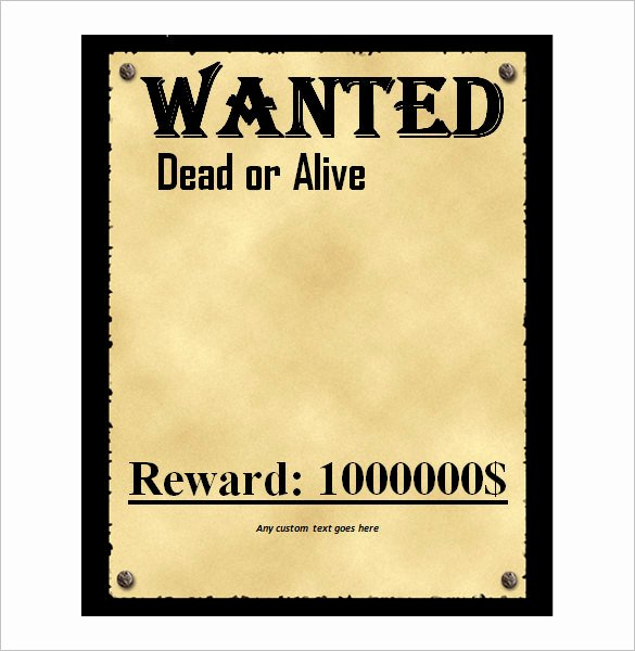Wanted Poster Template Doc