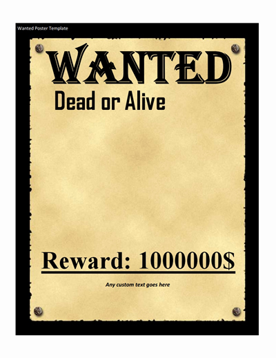 Wanted Poster Template Free Download Create Edit Fill