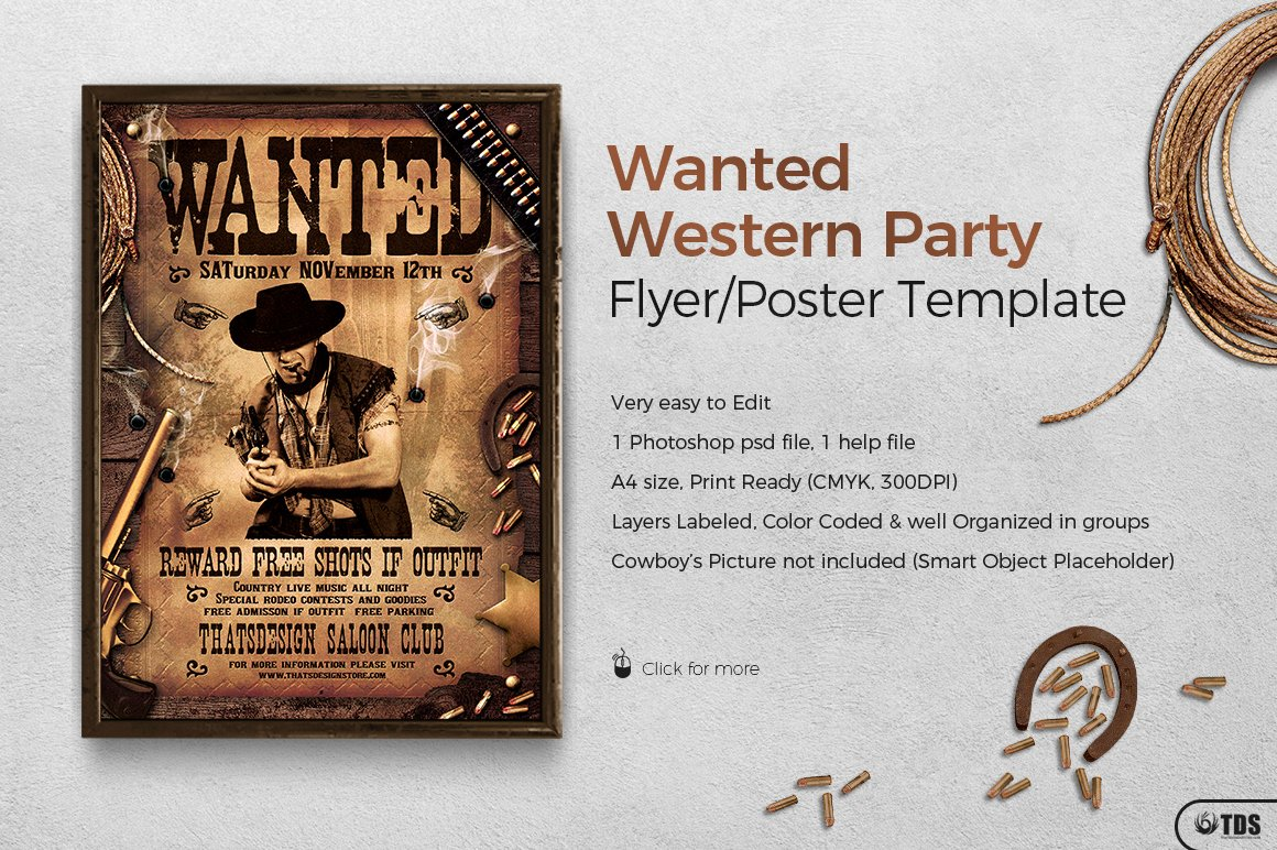 Wanted Western Party Flyer Template On Behance