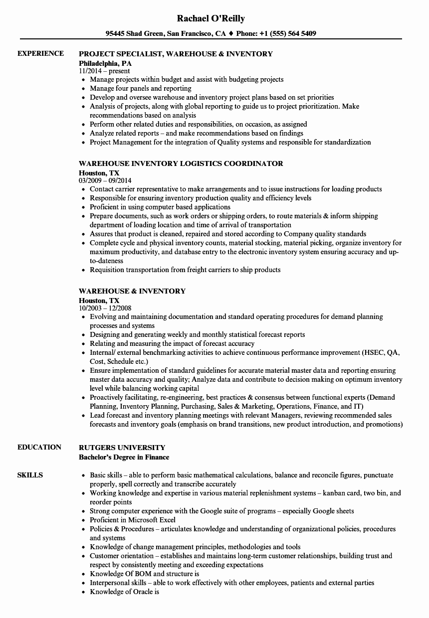 Warehouse & Inventory Resume Samples