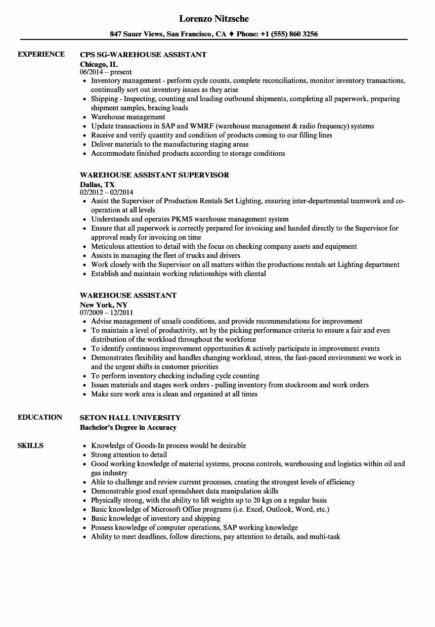 Warehouse assistant Resume Samples