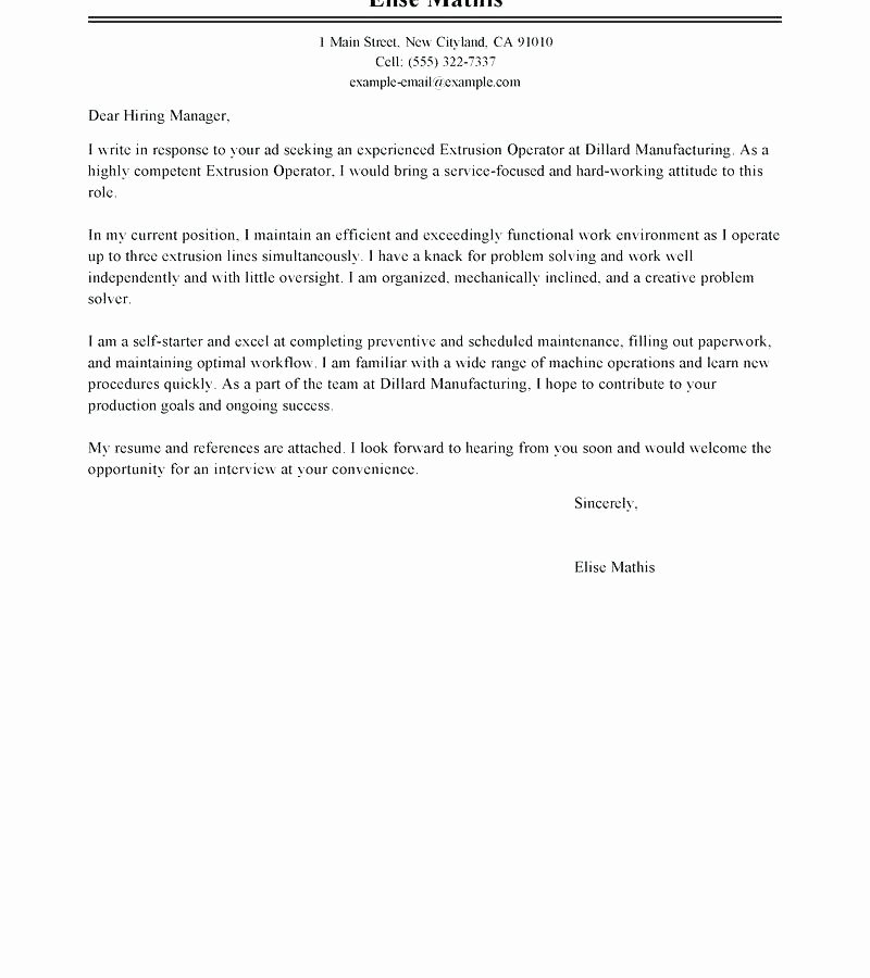 Warehouse associate Cover Letter Examples Sample Entry