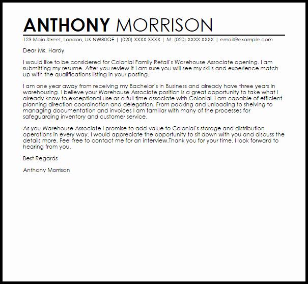 Warehouse associate Cover Letter Sample
