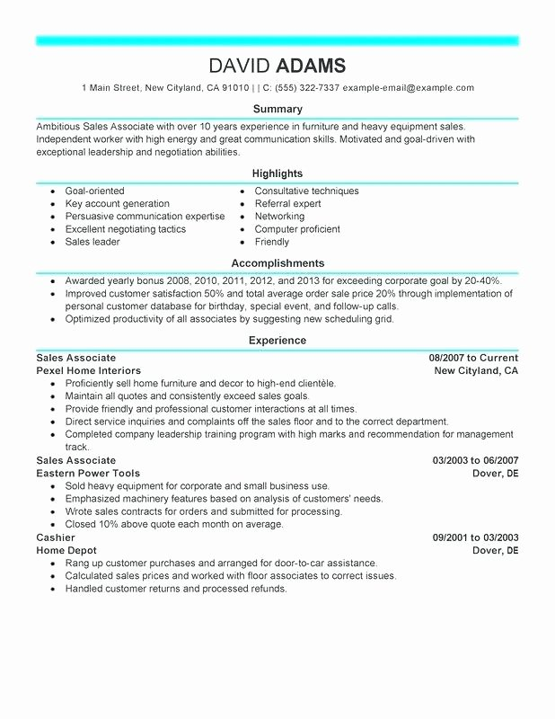 Warehouse associate Resume Template Best Example with