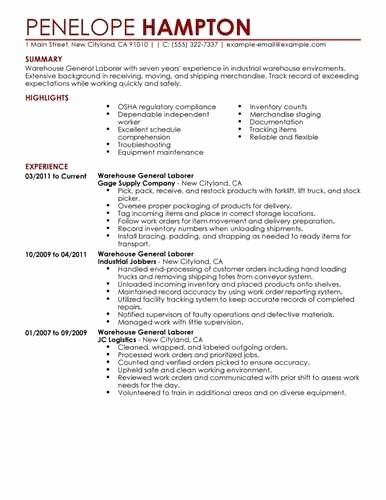 Warehouse General Labor Resume