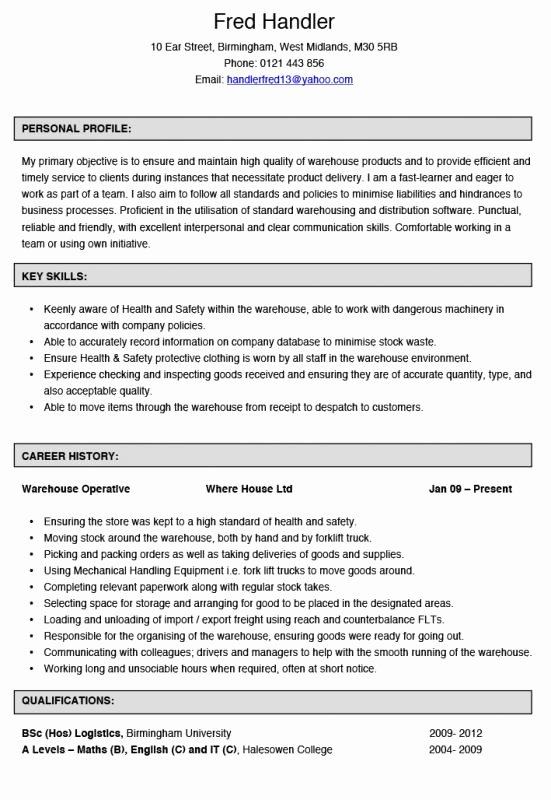Warehouse Job Description Resume