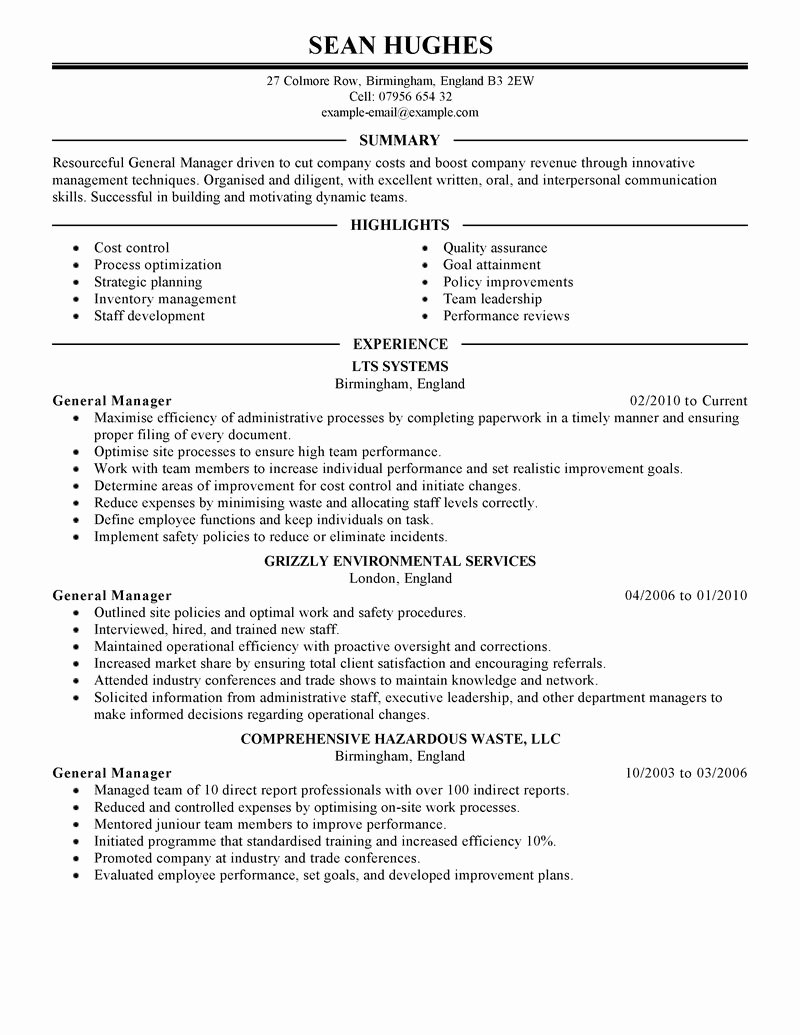 Warehouse Job Resume Objective General Manager Examples