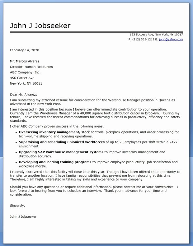 Warehouse Manager Cover Letter Template