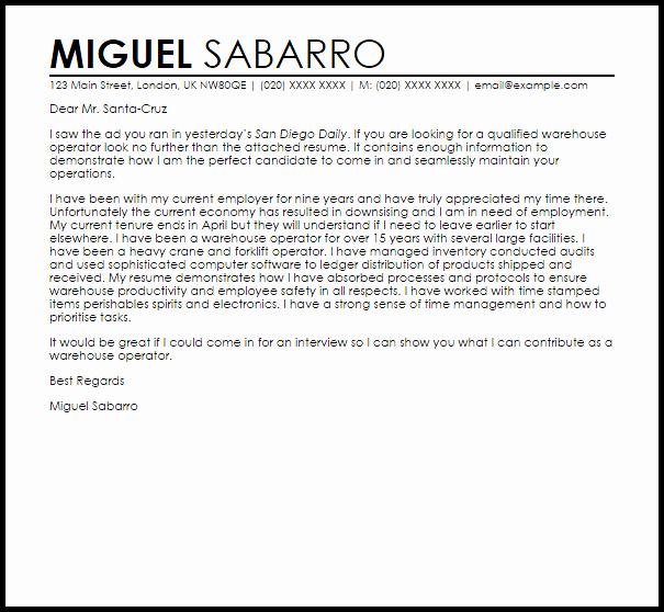 Warehouse Operator Cover Letter Sample