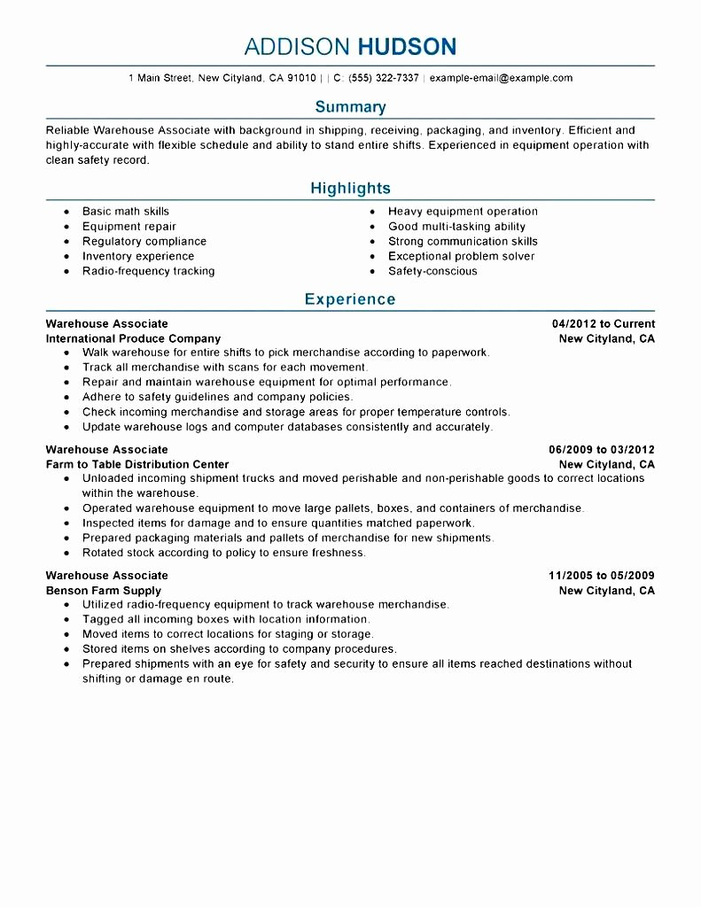 Warehouse Resume No Experience Free Samples Examples