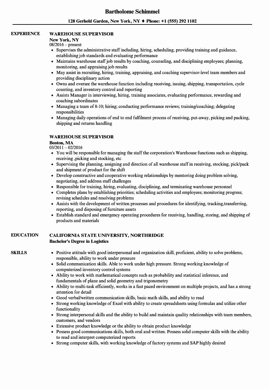 warehouse supervisor resume sample