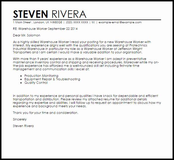 Warehouse Worker Cover Letter Sample