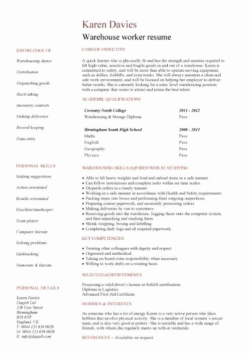 Warehouse Worker Job Description Resume Best Resume Gallery