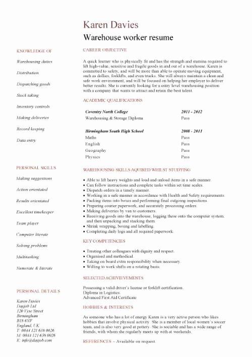 Warehouse Worker Job Description Resume Best Resume Gallery
