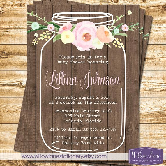 Watercolor Flower Mason Jar Baby Shower Invitation On Barn
