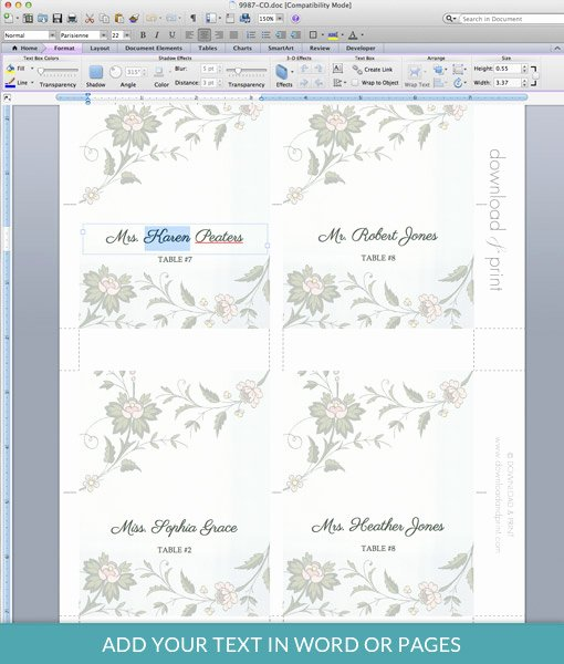 Watercolor Flowers Place Card Template – Download & Print