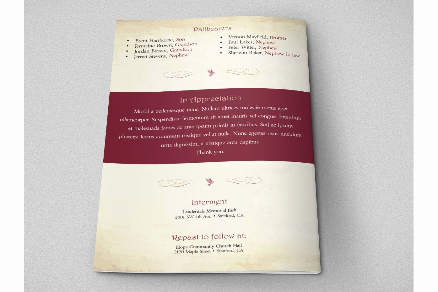 Watercolor Funeral Program Indesign Tem
