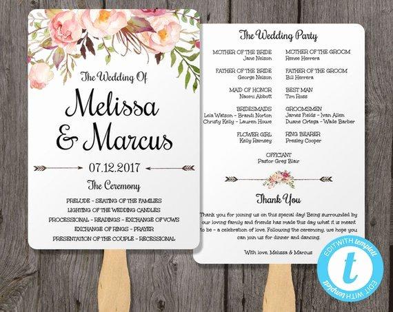 Watercolor Wedding Program Fan Template with Flowers Wedding