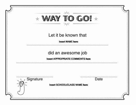 Way to Go Award Certificate – Microsoft Word